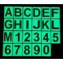Phosphoreszierende Buchstaben und Zahlen in PVC